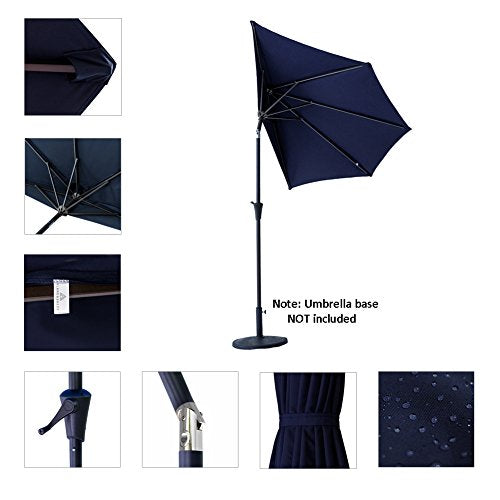 FLAME&SHADE 9' LED Half Outdoor Patio Market Umbrella with Solar Lights and Tilt for Outside Deck Terrace or Balcony Shade, Aqua Blue