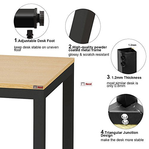Need Computer Desk 63 inches Large Size Desk Gaming Desk Writing Desk with BIFMA Certification Workstation Office Desk,Teak Black AC3BB-160