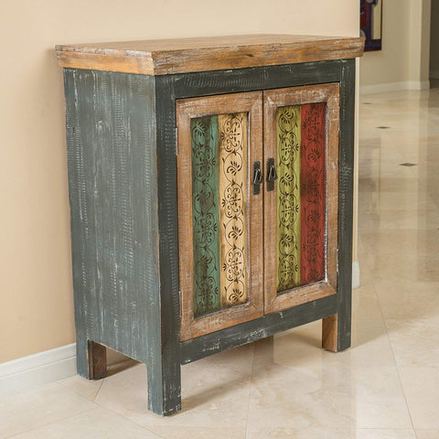 Leo Solid Wood 2-Door Cabinet in Antique Weathered Multi-Color Style