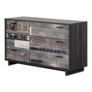 South Shore 11756 Fynn 6-Drawer Double Dresser, Gray Oak and Factory Planks Effect