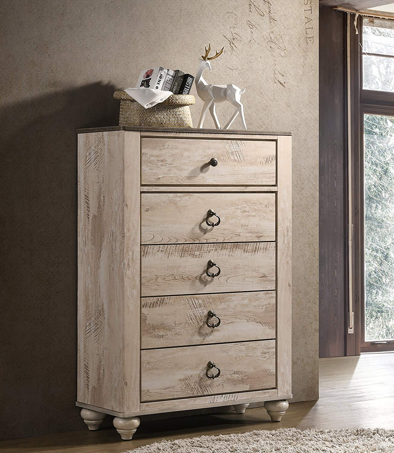 Roundhill Furniture B132C Imerland Contemporary Patched Wood Top 5-Drawer Chest, Brown