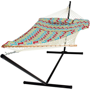 Best Choice Products Cotton Multicolor Rope Hammock and Stand Combo W/Pad, Pillow