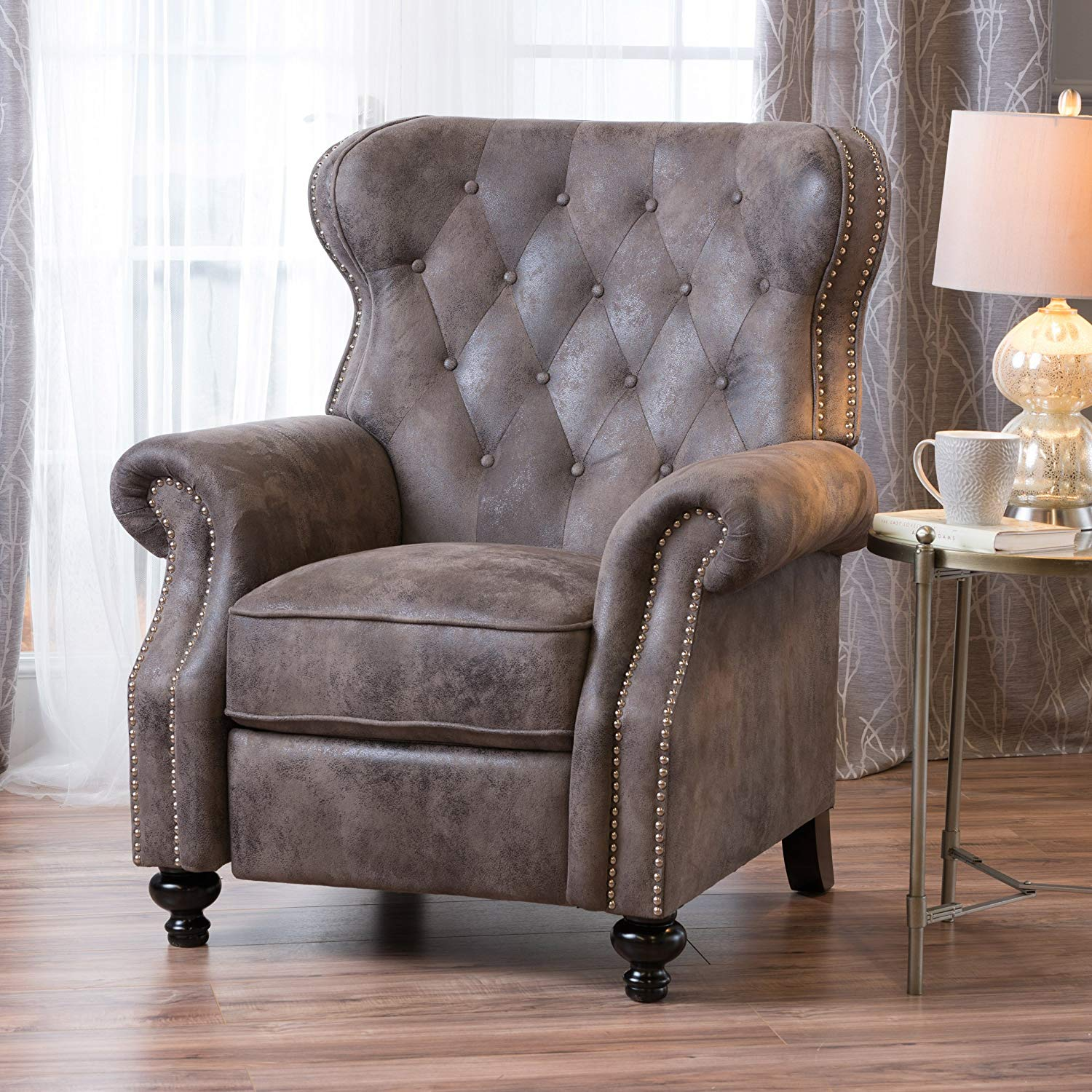 Christopher Knight Home 300661 Waldo Tufted Wingback Recliner Chair(Warm Stone), 35.83 x 39.76 x 41.34,
