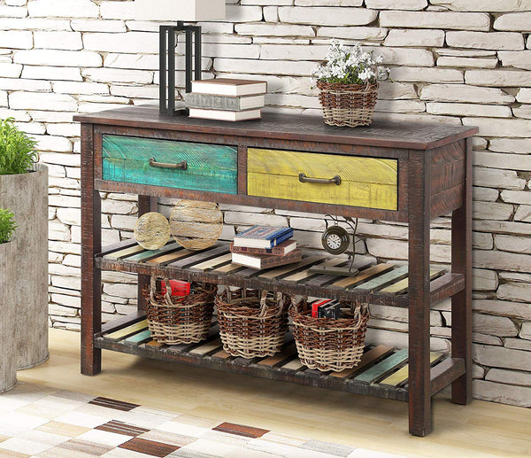 P PURLOVE Console Table Sofa Table Console Tables for Entryway Hallway Bathroom Living Room with Drawers and 2 Tiers Shelves (Colorful)