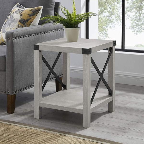 "WE Furniture 18"" Small End Table for Living Room Grey Wash Accent Side Table Nightstand Rustic"