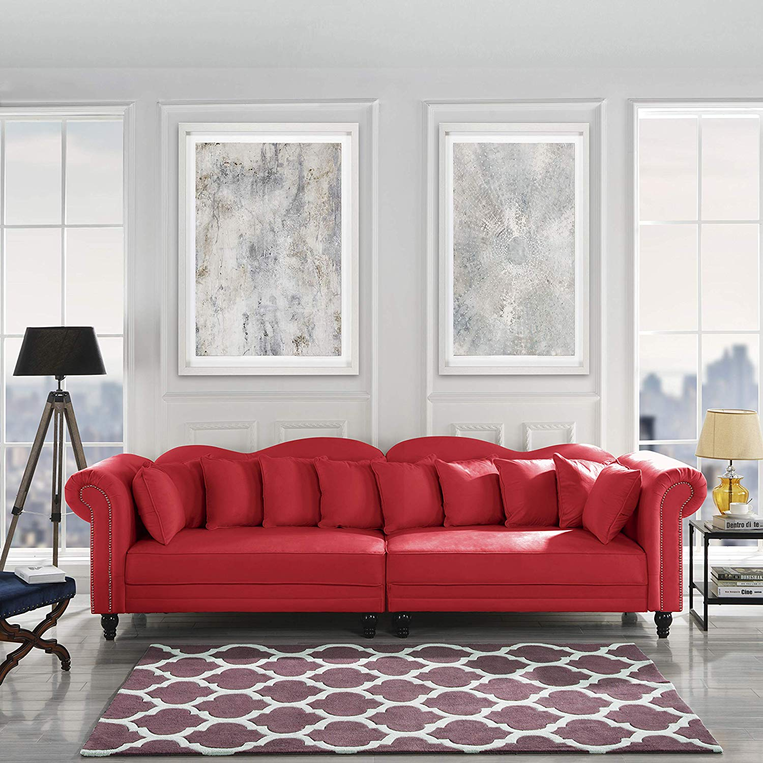 Classic Velvet Chesterfield Scroll Arm Large Living Room Sofa (Red)