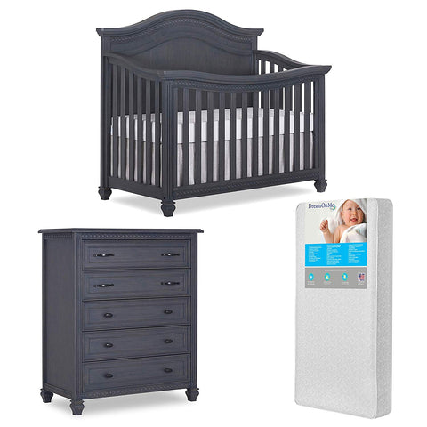 Evolur Madison 5 in 1 Convertible Crib and Tall Chest with Free Mattress, Weathered Gray