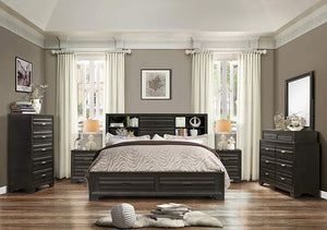 Roundhill Furniture Loiret 236 Antique Grey Bed Room Set/King Storage Bed/Dresser/Mirror/2 Night Stands/Chest