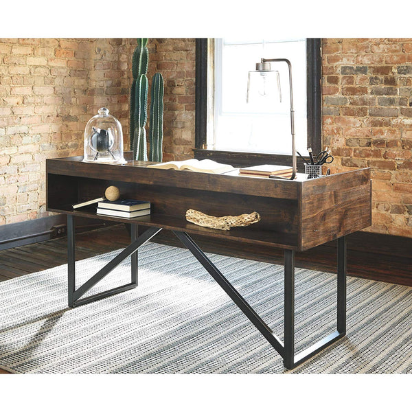 Ashley Furniture Signature Design - Starmore Home Office Desk - 3 Drawers w/ Dovetail Construction - Dark Bronze Tubular Metal - Contemporary - Dark Brown Rustic Finish