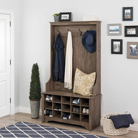 Prepac DSOG-0011-1 Shoe Storage Hall Tree, Drifted Gray