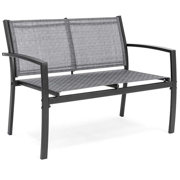 Best Choice Products 4-Piece Outdoor Patio Metal Conversation Furniture Set w/Loveseat, 2 Chairs, and Glass Coffee Table for Backyard, Patio, Poolside - Gray