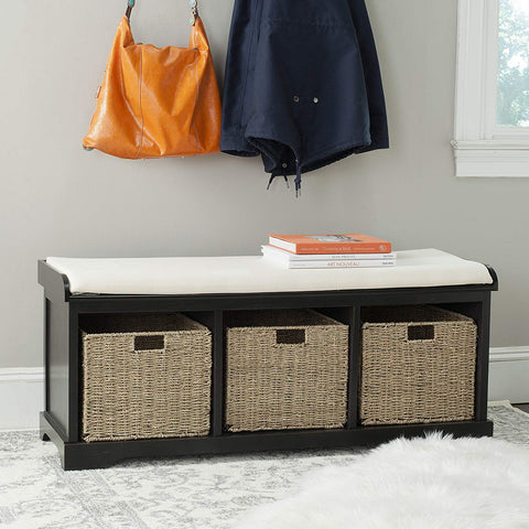 Safavieh American Homes Collection Lonan Grey Wash and White Wicker Storage Bench