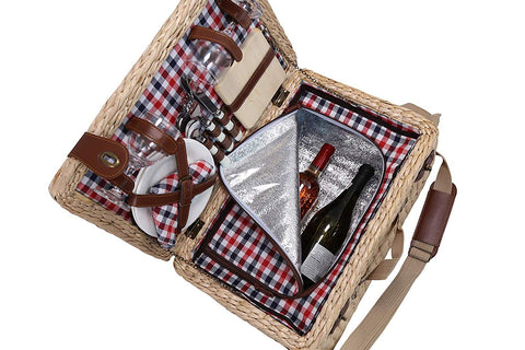 Primeware Picasso Deluxe 2 Person Bulrush Picnic Basket English Style Hamper with Cutlery, Plates, Insulated Cooler, Glasses, Tableware & Fleece Blanket