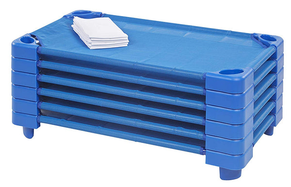 "ECR4Kids Children's Naptime Cot, Stackable Daycare Sleeping Cot for Kids, 52"" L x 23"" W, Ready-to-Assemble, Blue (Set of 6)"