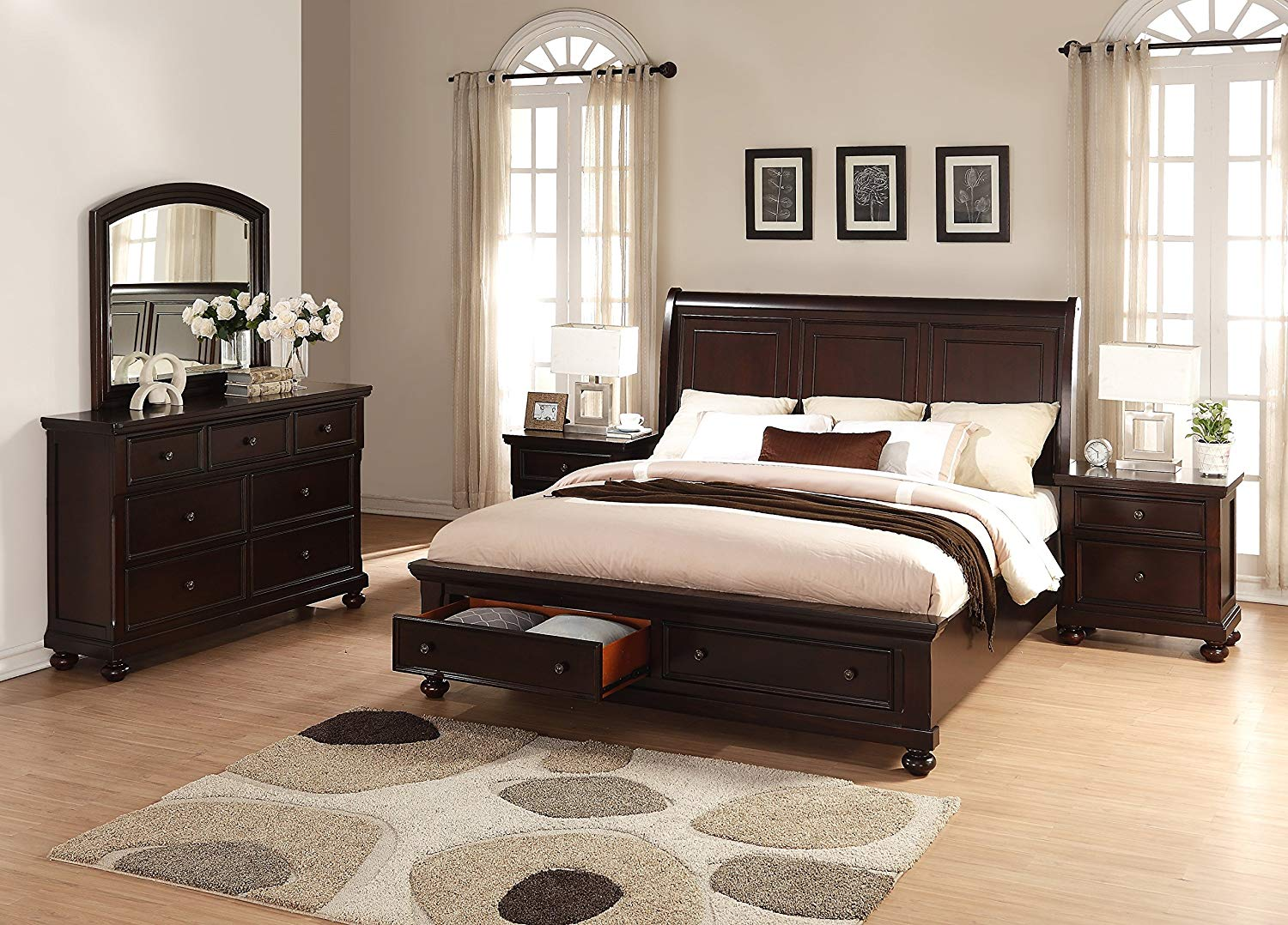 Roundhill Furniture Brishland Storage Bedroom Set Includes Queen Bed, Dresser, Mirror and 2 Nighstands, Rustic Cherry