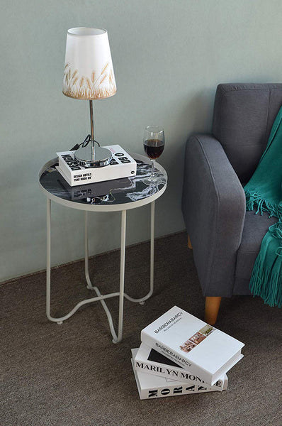 Faux Marble Round Side Table,Metal End Table,Telephone Small Tables for Living Room, Accent Tables, Bedroom Furniture for Small Spaces,Metal Black by AOJEZOR
