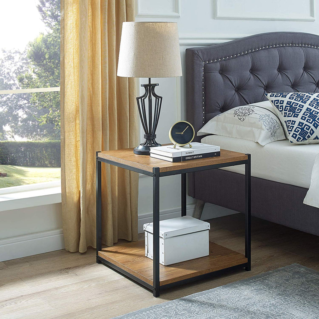 Tall Side End Table by CAFFOZ Furniture Designs  Brooklyn Series Brown Oak Wood Look Accent Furniture with Metal Frame Night Stand Coffee Table  Storage Shelf Sturdy Easy Assembly