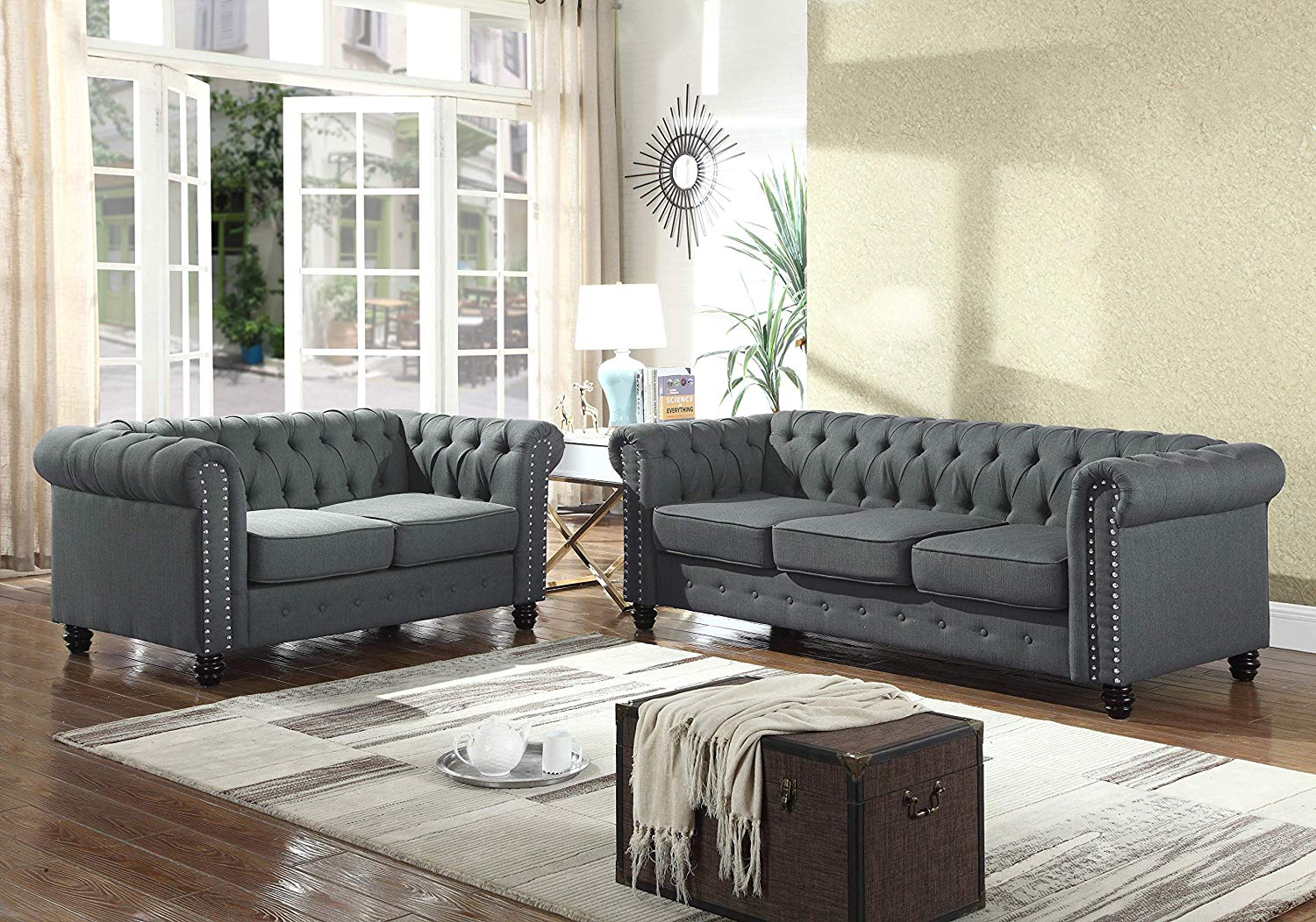 Best Master Furniture YS001 Venice 2 Piece Upholstered Sofa Set, Charcoal