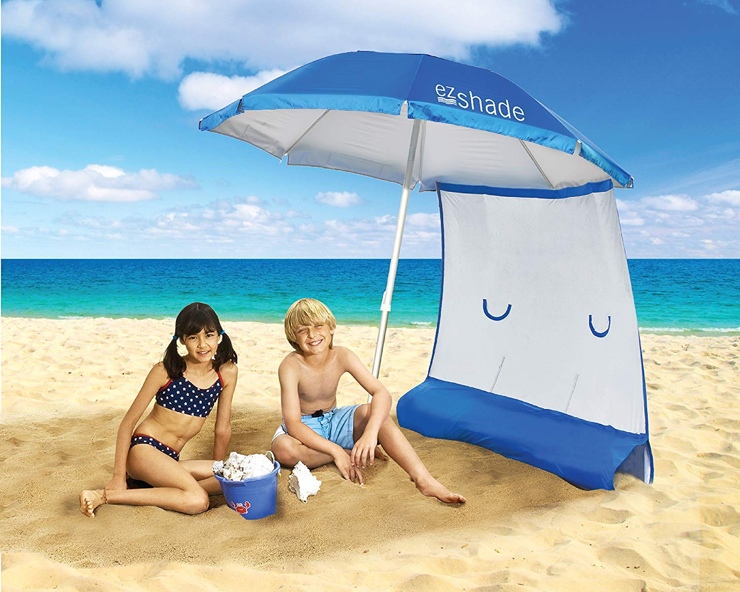 ezShade Superior Sun Protection, Ultra Lightweight 7' Beach Umbrella & Sunshield Combo, Blocks 99% UVA/UVB, Doubles Your Shade and Keeps You Cooler