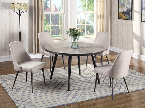 Best Master Furniture DX800 Marley 5 Pcs Round Dining Set 5-Piece, Grey