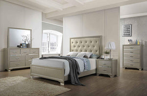 Kings Brand Furniture - 6-Piece Champagne Finish with Upholstered Headboard King Size Bedroom Set. Bed, Dresser, Mirror, Chest & 2 Night Stands