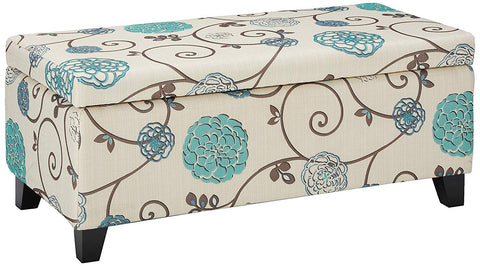 "Christopher Knight Home 299442 Living Brenway Pattern Fabric Storage Ottoman (Floral), 19.00""L x 38.50""W x 16.00""H, White and Blue"