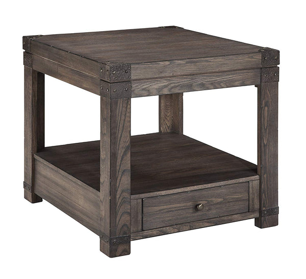 Ashley Furniture Signature Design - Burladen End Table - Industrial - Washed Grayish Brown