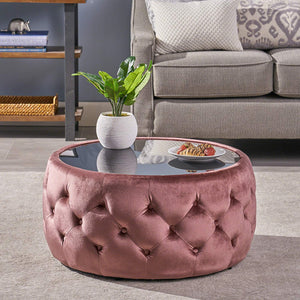 Great Deal Furniture 304791 Ivy Glam Velvet and Tempered Glass Coffee Table Ottoman, Beige, Black