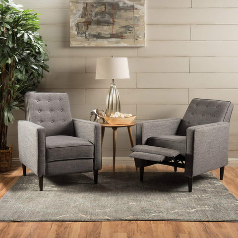 Christopher Knight Home 300972 Marston Mid Century Modern Fabric Recliner (Set of 2) (Grey),