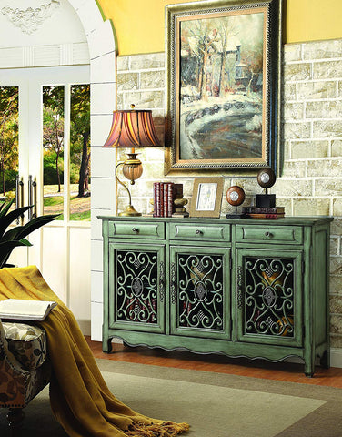 3-Door Accent Cabinet Antique Green