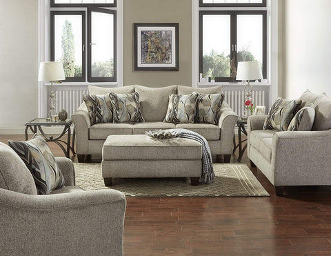 Roundhill Furniture LAF7703-02-01-05CP Camero Platinum Fabric ((4 Piece) Living Room Set