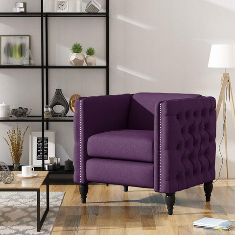 Christopher Knight Home 303946 Alice Modern Tufted Purple Fabric Arm Chair, Dark Brown