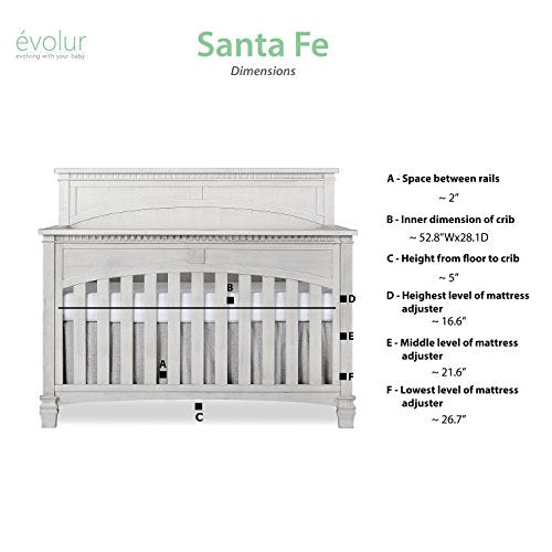 Evolur Santa Fe 5-in-1 Convertible Crib, Storm Grey