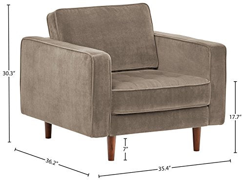 "Rivet Aiden Tufted Mid-Century Modern Leather Bench Sectional Couch Sofa, 74""W, Cognac"