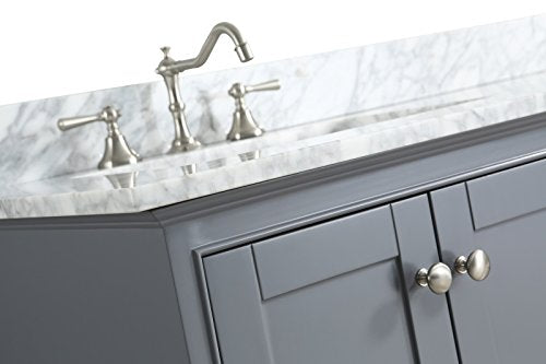 "UrbanFurnishing.net - Jocelyn 48-Inch (48"") Bathroom Sink Vanity Set with White Italian Carrara Marble Top - White"