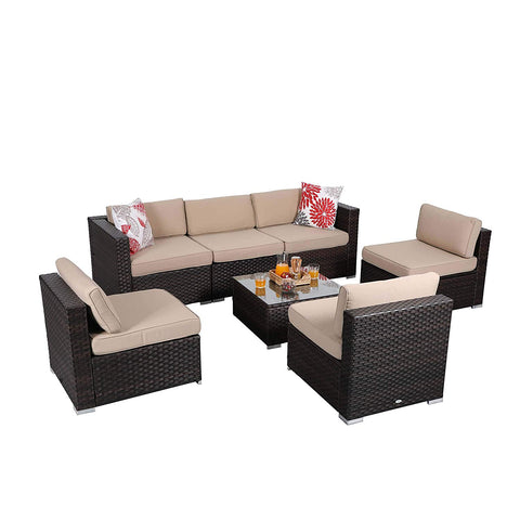 PHI VILLA 5-Piece Patio Furniture Set Rattan Sectional Sofa with Seat Cushions and Free Patio Sofa Cover, Blue