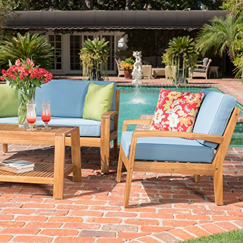 GDF Studio Parma 4 Piece Outdoor Wood Patio Furniture Chat Set w/Water Resistant Cushions (Set of Four Chairs, Beige)
