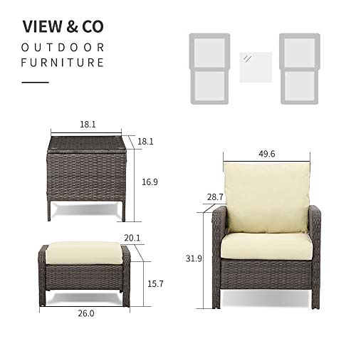 Young Tech Patio Furniture 4 PCS Outdoor Sectional Furniture Set P.E Rattan Conversation Sets with Matching Waterproof Patio Cushions and Coffee Table & Necessary Tools (4 Set 2 Brown & Beige)