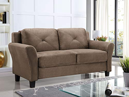 "Lifestyle Solutions KD Rolled-Arm Collection Grayson Micro-Fabric Sofa 80.3""x32""x32.68"" Black"