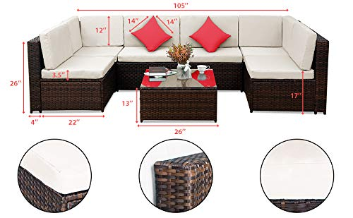 Tenozek 7 Pieces Outdoor Furniture Patio Sectional Sofa Wicker Patio Set All Weather PE Rattan Conversation Set(Brown, 6 Seats + Coffee Table)
