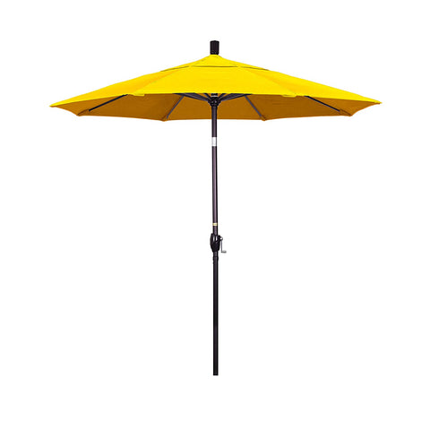 California Umbrella 7.5' Round Aluminum Market Umbrella, Crank Lift, Push Button Tilt, Bronze Pole, Sunbrella Wheat