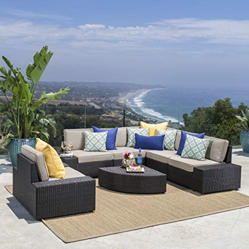 Great Deal Furniture 214311 Reddington Outdoor Wicker Furniture Set, Sectional and Table for Pati