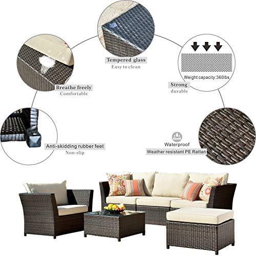 ovios Patio Furniture Set, Backyard Sofa Outdoor Furniture 12 Pcs Sets,PE Rattan Wicker sectional with 4 Pillows and 2 Patio Furniture Covers, No Assembly Required,Brown (12 Piece, Beige)