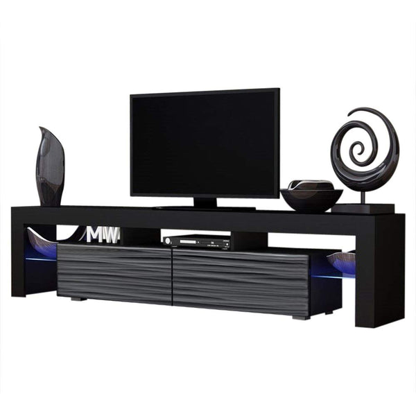 Concept Muebles TV Stand Milano 200 / Modern LED TV Cabinet/Living Room Furniture/Tv Cabinet fit for up to 90-inch TV Screens/High Capacity Tv Console for Modern Living Room (White & Black)