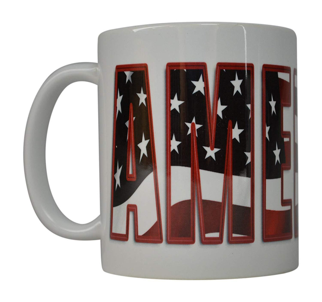 Best Coffee Mug USA Flag American Patriot Novelty Cup Great Gift Idea For Men Dad Father Husband Military Veteran Conservative (AMERICA) - Coffee Mugs - Rogue River Tactical  - Rogue River Tactical