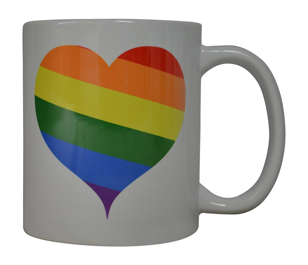 Best Coffee Mug Rainbow Heart Love Gay Pride Novelty Cup Great Gift Idea For Men Women Gay Lesbian Bisexual Transgender (Heart) - Coffee Mugs - Rogue River Tactical  - Rogue River Tactical