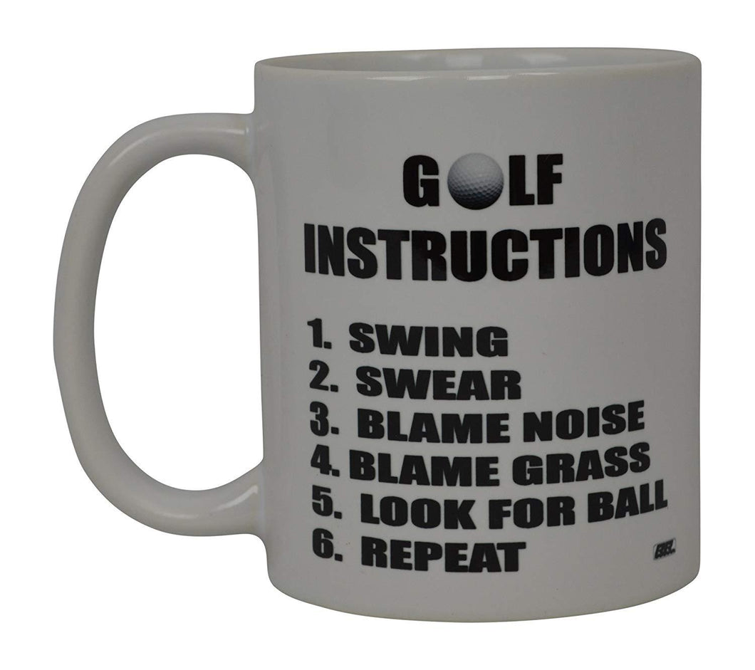 Best Funny Golf Coffee Mug Golf Instructions Novelty Cup Joke Great Gag Gift Idea For Office Work Adult Humor Employee Boss Golfers - Coffee Mugs - Rogue River Tactical  - Rogue River Tactical