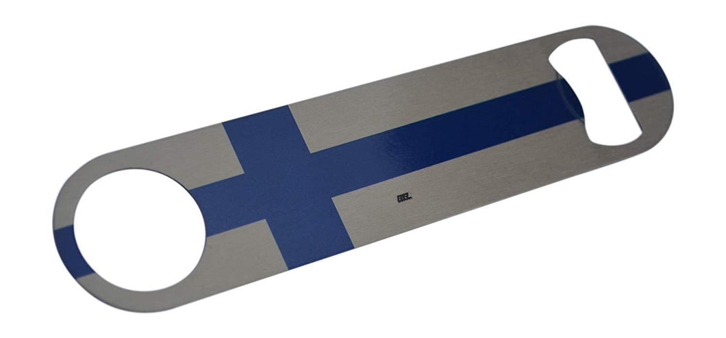 An image of a stainless steel speed bottle opener from Nuddamakers with an image of the Finland flag on it.