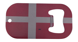 An image of a small bottle opener from Nuddamakers with an image of the Denmark flag on it.