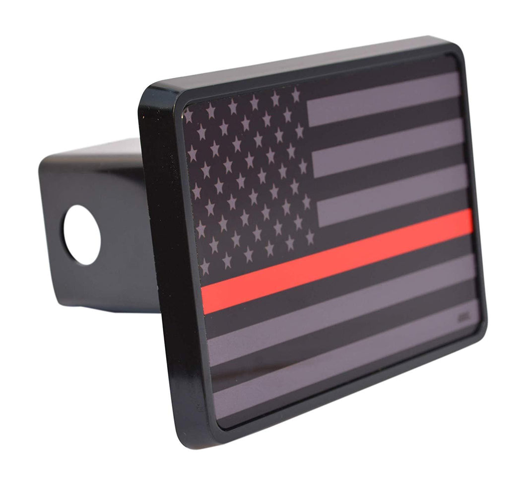 Rogue River Tactical Subdued Thin Red Line Flag Trailer Hitch Cover Plug US Firefighter Fire Fighter Truck Department FD - Hitch Covers - Rogue River Tactical  - Rogue River Tactical